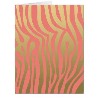Oro y modelo rosado coralino de las rayas de la tarjeta de felicitación grande