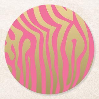Oro y modelo rosado de las rayas de la cebra posavasos personalizable redondo