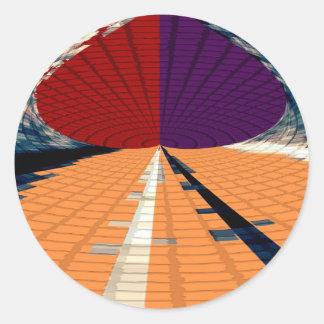 Oro y modelos púrpuras 12 de la pirámide del pegatina redonda