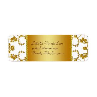 Oro y monograma floral blanco del boda etiquetas de remite