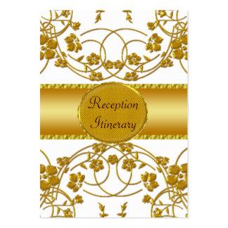 Oro y monograma floral blanco del boda tarjeta de visita