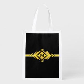 Oro y monograma negro de la correa del art déco bolsa de la compra