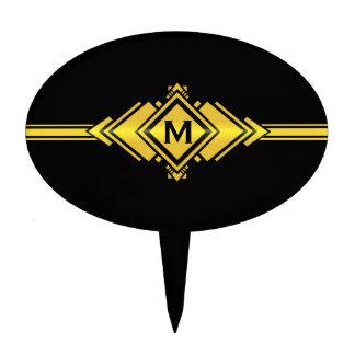 Oro y monograma negro de la correa del art déco figuras para tartas