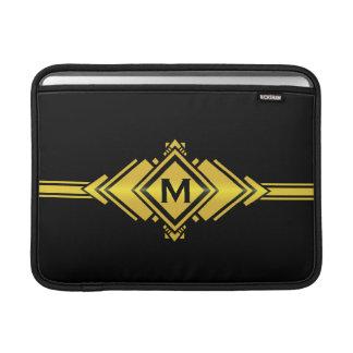 Oro y monograma negro de la correa del art déco funda  MacBook