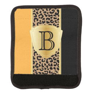 Oro y monograma negro del estampado de animales el funda para asa de maleta