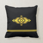 Oro y monograma negro del estilo del art déco almohada