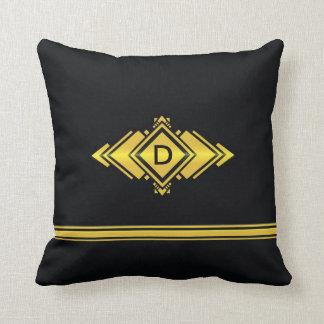 Oro y monograma negro del estilo del art déco cojín