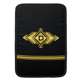 Oro y monograma negro del estilo del art déco funda para macbook air