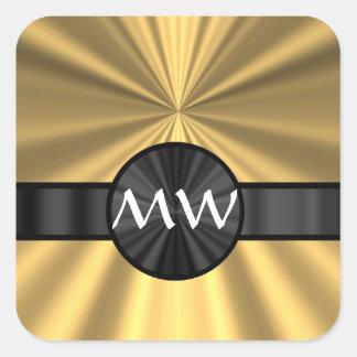 Oro y monograma negro pegatina cuadrada