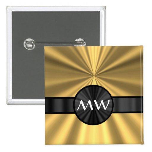 Oro y monograma negro pin cuadrada 5 cm