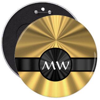Oro y monograma negro pin redondo de 6 pulgadas