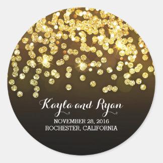 Oro y negro - boda del brillo de los diamantes pegatina redonda