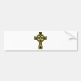 Oro y negro de la cruz céltica pegatina para auto
