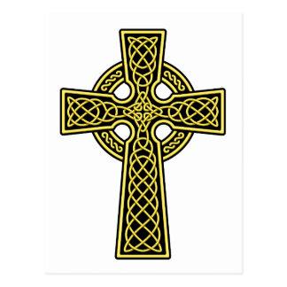 Oro y negro de la cruz céltica postales