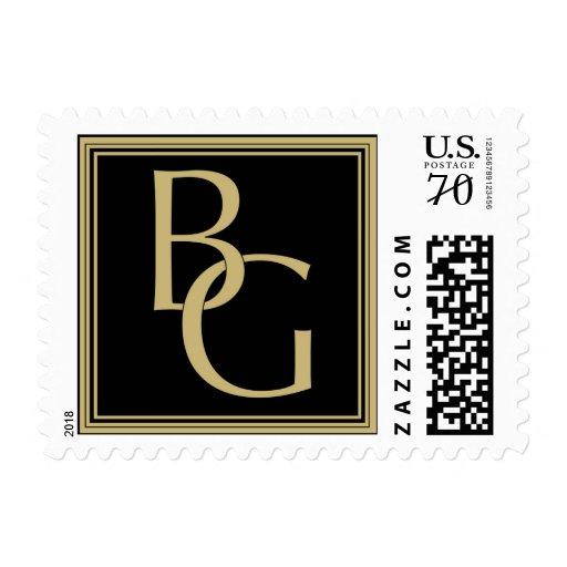 Oro y negro del monograma de B G Sellos