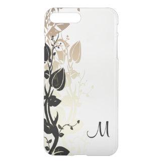 Oro y negro florales con el monograma fundas para iPhone 7 plus