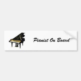 Oro y notas negras de la música del piano de cola pegatina para auto
