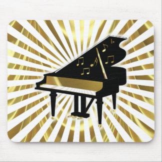 Oro y notas negras de la música del piano de cola alfombrillas de ratón