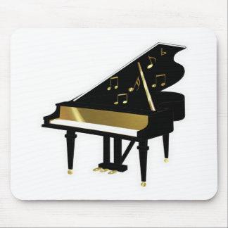 Oro y notas negras de la música del piano de cola alfombrilla de ratones