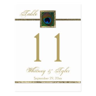 Oro y número blanco de la tabla de la pluma del tarjetas postales
