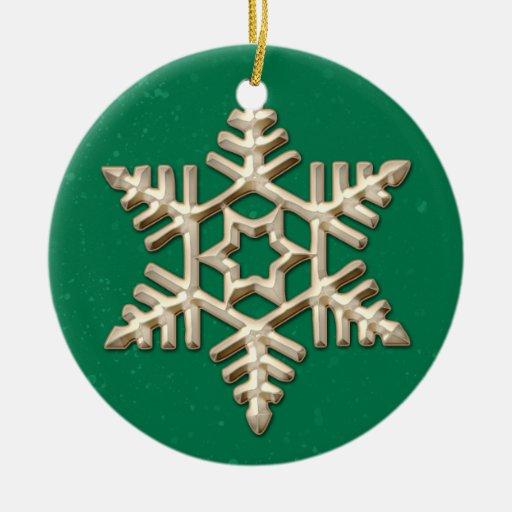 Oro y ornamento verde del día de fiesta del copo adorno navideño redondo de cerámica