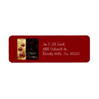 Oro y ornamentos rojos del navidad del centelleo etiqueta de remitente