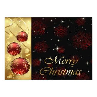 """Oro y ornamentos rojos del navidad del centelleo invitación 5"""" x 7"""""""