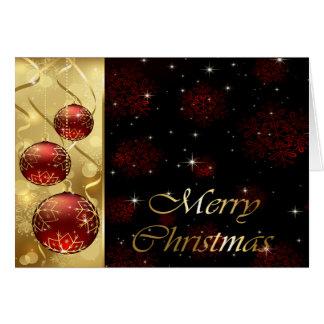 Oro y ornamentos rojos del navidad del centelleo tarjeta de felicitación