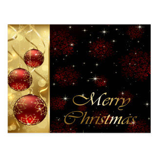 Oro y ornamentos rojos del navidad del centelleo tarjeta postal