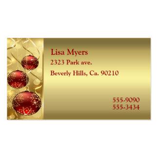 Oro y ornamentos rojos del navidad del centelleo tarjetas de visita