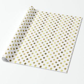 Oro y papel de embalaje blanco del lunar