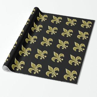 Oro y papel de embalaje negro de la flor de lis papel de regalo