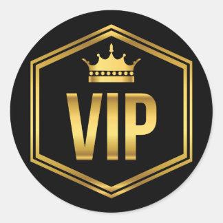 Oro y paso negro del fiesta del VIP de la corona Pegatina Redonda