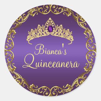 Oro y pegatina púrpura de Quinceanera de la tiara