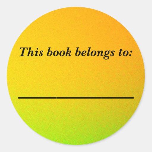 Oro y placa del Libro verde Pegatinas Redondas