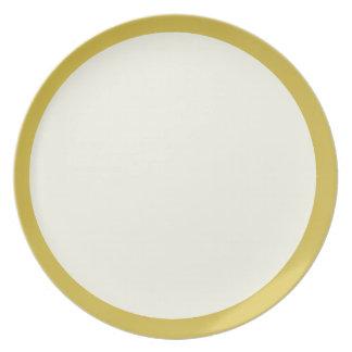 Oro y placa Marfil-Coloreada Plato De Cena