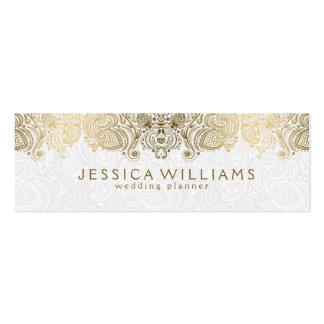 Oro y planificador blanco del boda del cordón de tarjetas de visita mini