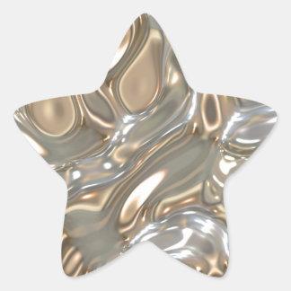 Oro y plata del fluido pegatina en forma de estrella