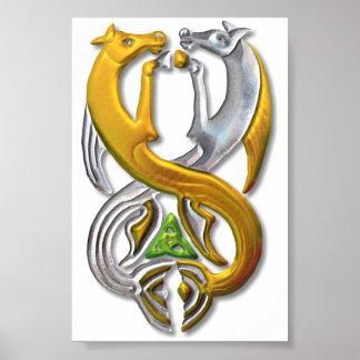 Oro y plata del Kelpie Impresiones