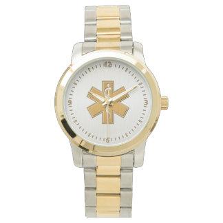 Oro y plata del paramédico EMT EL ccsme Reloj De Mano
