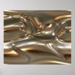 Oro y plata orgánicos de la hoja del metal fundido posters