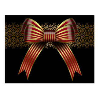 Oro y postales rojas del día de fiesta del arco de