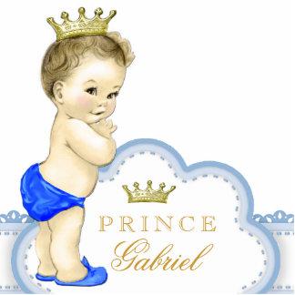 Oro y príncipe azul bebé fotoescultura vertical