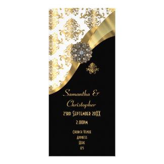 Oro y programa negro del boda de la iglesia del plantilla de lona