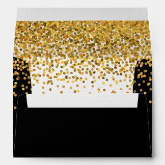 Oro y puntos atractivos del confeti del negro sobres