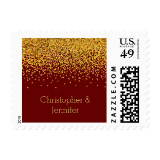 Oro y puntos atractivos rojos del confeti sellos