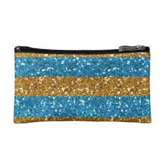 Oro y rayas azules ciánicas del brillo impresos