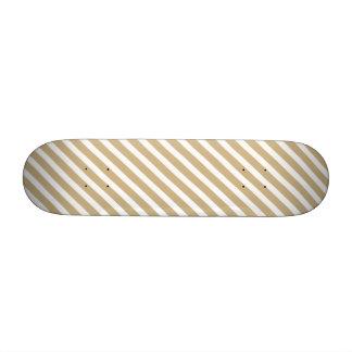 Oro y rayas diagonales blancas del bastón de patinetas personalizadas