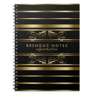 Oro y rayas negras con el cordón floral del oro notebook