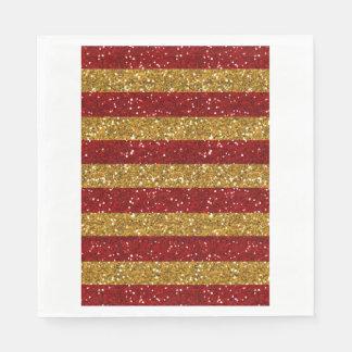 Oro y rayas rojas del brillo impresos servilletas desechables